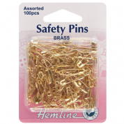 Hemline Safety Pins - Assorted Pack 19mm & 23mm - Brass - 100 pack